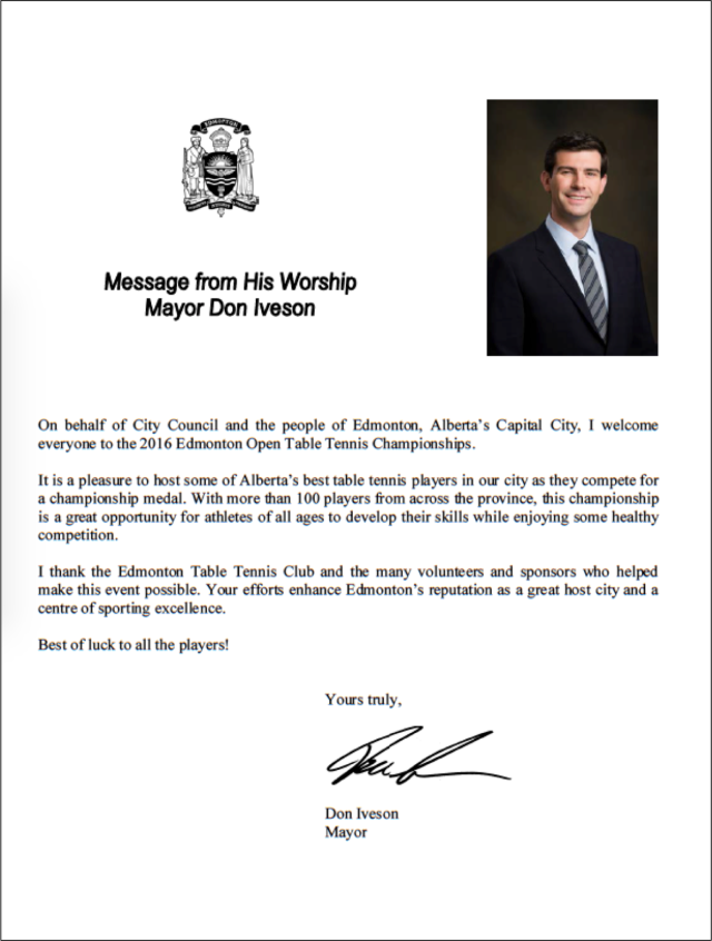 Letter from Mayor Don Iveson